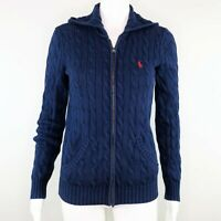 Ralph Lauren Polo Sport Blue Cable Knit Full Zip Hoodie Sweater Jacket Sz Small