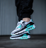Nike Air Max 90 White/Grey & Turquoise Trainers Sneakers Size UK 9 EUR 44