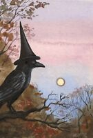 4x6 RAVEN CROW RYTA WITCH Halloween FOLK ART PRINT OF PAINTING MOON WHIMSICAL