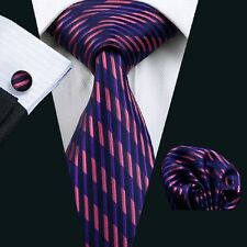 100% Pure Silk Tie Cuff-links & Handkerchief Set Black With Purple & Pink Lines