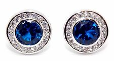 Sterling Silver Blue Sapphire And Diamond 2.26ct Stud Earrings (925) Gift Box
