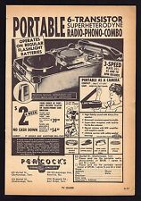 1960 PEACOCKS JEWELERS AD~TRANSISTOR RADIO PHONOGRAPH COMBO~Record Player