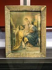 Quadro stampa Sacra Famiglia anni 30 cornice in vetro Arte Sacra