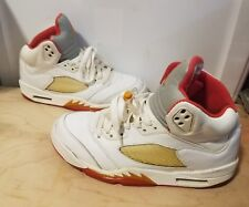 "AIR JORDAN 5 V RETRO ""SUNSET"" WOMENS SIZE 8.5M WHITE FIRE/RED EXCELLENT COND."