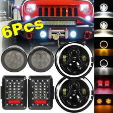 "6Pc 7"" LED Headlight Beam Tailight Turn Signal Lamp Kit for Jeep JK 2007-2017 US"