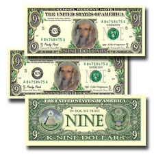 Dachshund Pack of Three Novelty Nine Dollar Bills Dog (#1) Doxie