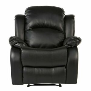 Black Reclining Chair PU Leather Recliner Chair Overstuffed Living Room Chair