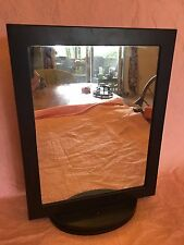Mirror Jewelry Case Brown Wood Picture Frames Rotating organizer storage display