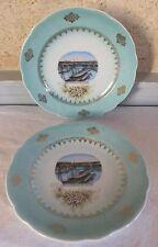 2 assiettes porcelaine décor port militaire Brest pont tournant