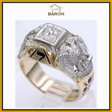 0.55 CARAT MENS DIAMOND RING 14K YELLOW & WHITE GOLD MEN RING SIZE 9