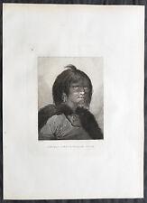 1784 Cook & Webber Large Antique Portrait Woman of Prince William Sound, Alaska