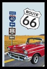 Route 66 Red Car Motiv 2 Nostalgie Barspiegel Spiegel Bar Mirror 22 x 32 cm
