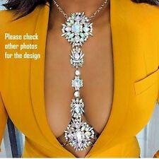 Rhinestone Crystal Gem Pendant Harness Waist Body Chain Necklace Bikini Jewelry