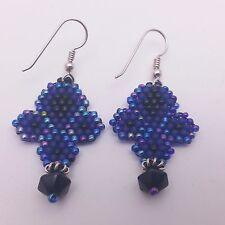 Blue, Purple Iris & Black Beadwork Earrings