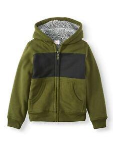 Boy's Color Block Wonder Nation Green Black Sherpa Full Zip Hoodie L Husky 10/12