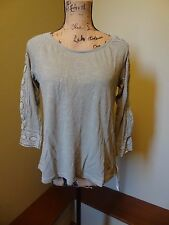 NWT Sonoma Top with Crotchet Accent Petite XS X-Small, Color Sage Herb