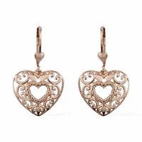 14K Rose Gold Plated Drop Dangle Valentine Heart Earrings 925 Sterling Silver