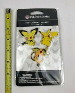 Brand New & Sealed Pokemon Center Pichu Pikachu Raichu Pins / Rare