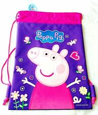 Peppa Pig Purple Backpack Licensed Drawstring Boy Sling Tote Gym Bag NEW