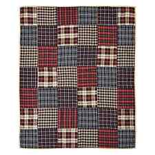 """Austin Quilted Throw Blanket 60X50"""" Red Tan Black Plaids Patchwork"""