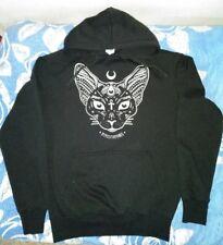 Felpa con cappuccio gatto sphynx luna ankh magic wicca nera hoodie XL