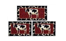 Cow 3 Piece Rug Set Kitchen Mat Non Skid Sink Farm Country Throw Home Decor