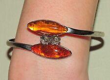 Bernstein Armreifen / Armring mit Blüten und 2 Steinen - Baltic amber