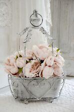 Übertopf Blumentopf Metalltopf Blumenampel klein Shabby Chic Vintage Landhaus