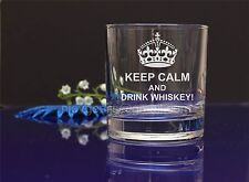 Personalised engraved KEEP CALM whiskey glass BIRTHDAY Christmas present gift40