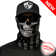 SA Co Face Shield Tubular Bandana Balaclava Dunes, BLACKOUT AMERICAN FLAG SKULL