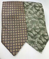 Jones New York Men's Neckties Lot 2 Ties Silk Green Taupe Gold Blue Father Day
