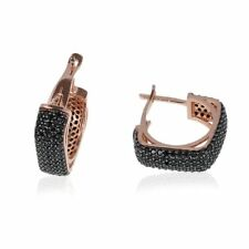 STERLING 925 SILVER  MICRO-PAVE BLACK ONYX FIVE LINES SQUARE EARRINGS