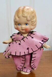 vintage KEWPIE BISQUE Flapper DOLL OILCLOTH DRESS Moveable arms