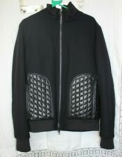 Valentino Men's Black Quilted Leather Patch Jacket Size USA 44 - Good Used