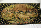VTG Italian Tapestry Velour Wall Hanging Sheep Shepherd Great Colors 39 X 29
