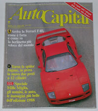 AUTOCAPITAL 6/1988 FERRARI F40 – VOLVO 480 TURBO – MERCEDES 300 SRL – JAGUAR XJS