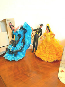 Vintage Marin Chiclana Spanish Dancers and Man with Guitar Org. Tags/boxes