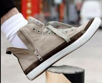 Mens Flat High Top Casual Canvas Sneaker Outdoor Lace Up Hiking Shoes New Sbox14