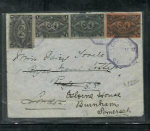 GUATEMALA COVER (P1809B) 1897  1CX2+2C+6C COVER SENT TO ENGLAND
