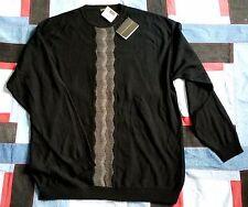 LENOR ROMANO Mens SWEATER Black Pullover Knit Shirt Italy Sz XXL Tall 100% Wool