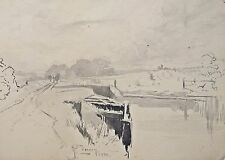 Fine 19th century watercolour  Richard Toovey (1861-1927). 1898, Canal landscape