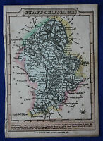 Original antique map, STAFFORDSHIRE, LITCHFIELD, STOURBRIDGE, J. Wallis c.1810