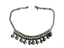 Vintage Stil Ketten Metallic Dunkelgrau Halsband glänzend rhienstones N39