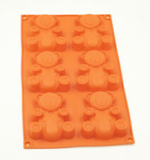 6 Cavity Teddy Bear Cake Chocolate Candy Ice Cube Silicone Mould Brown