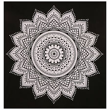 Black & White Indian Cotton Bedspread Throw Mandala Queen Tapestry Boho Decor