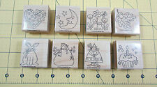 Stampin Up Just For Fun Stamp Set of 8 Fall Spring Heart Snowman Rabbit Easter