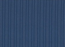 Blue / White Striped Polycotton Spandex Blend Shirting Fabric 115cm Wide
