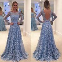 Abendkleid Ballkleid Partykleid Kleid blau weiß rückenfrei Langarm S-5XL BC426