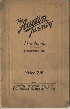 Austin Twenty 20 original Handbook Carlton Saloon 1925 Pub. No. 311d
