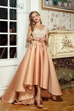 JDC Champagner Abendkleid Partykleid Cocktail Prom Quinceanera Spitze High-Low